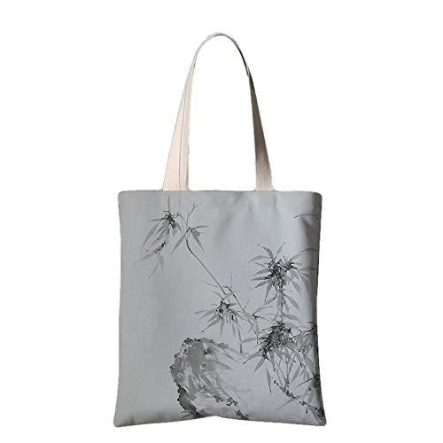 Print Rucksack Taschen Unisex Rucksäcke Travel Bags Rucksack Einkaufstasche, Aufbewahrungstasche Chinesischer Nationaler Tintentintenpfingstrosenblumenschulter-Segeltuch-Einkaufstaschebambus