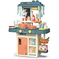 OBLETTER Kids 42-Piece Kitchen Playset, with Realistic Lights & Sounds, Play Sink with Running Water,Dessert Shelf Toy…