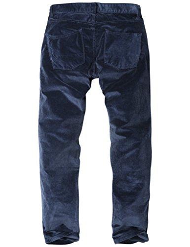 Match Herren Slim-Tapered Flat-Front Casual Kord Hose #8052 8052 Saphir blau