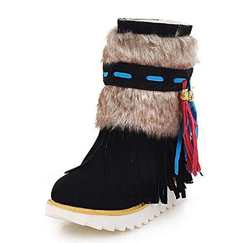 SHANGWU Designer-Frauen-Winter-Knöchel-Aufladungen/Damen-Faux-Pelz-Griff-Sohle-weiblicher Fringe Plüsch-Schnee-Aufladungs-Keil-Flock-Damen-Schuh-wulstigem Wildleder Große Größe - Groß Fringe Boot