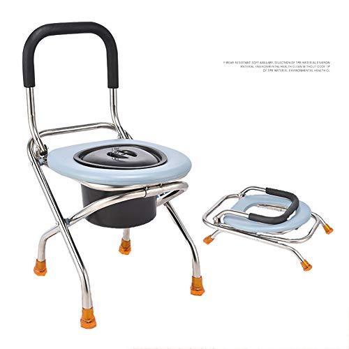 GEER Faltbarer Hygienischer Toilettenstuhl, Nachtstuhl, gepolstertere Sitzfläche, herausnehmbarer Eimer mit Deckel, Toilettenhilfe, für Erwachsene Handicap Senioren