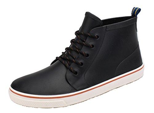 AgeeMi Shoes Unisex Erwachsene Rund Zeh Flache Schnüren Kurzstiefel Regenstiefel,EuY02 Schwarz 40