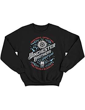 Flamentina 9268 Winchester Brothers Uomo Sweatshirt Supernatural Sam Dean Singer Salvage Auto Yard Impala