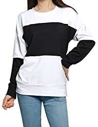 Allegra K Women's Color Block Crew Neck Long Sleeves Tunic Sweatshirt