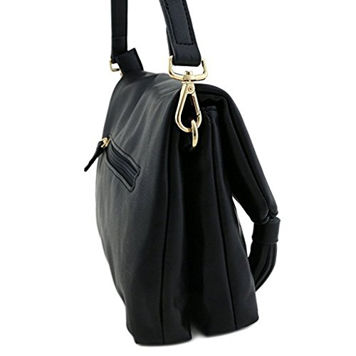 David Jones - Borsa a tracolla donna with front zip pocket patta and Pompon - Smooth imitazione pelle Nero