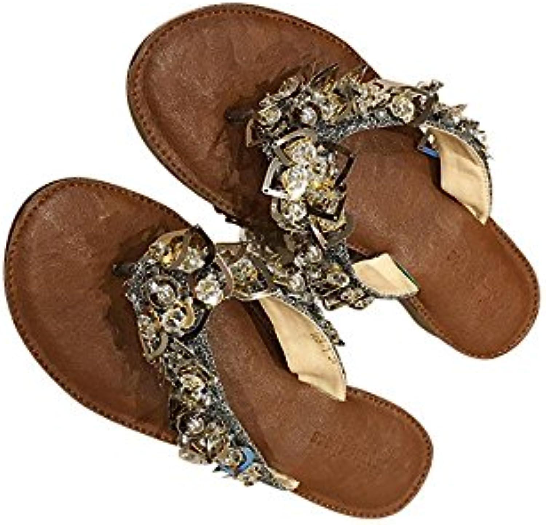 le strass, tongs sandales fangyou1314 plat doux chaussures de plage taille: sauvage (couleur: argent, taille: plage 4.5 uk) aa11ff