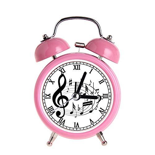 PAEEG Kinderwecker Vintage Retro Silent Pointer Clocks Runde Nummer Dual Bell Loud Pink Wecker Nachtlicht Home Dekore Schwarz Musiknoten in ovaler Form Designeruhren