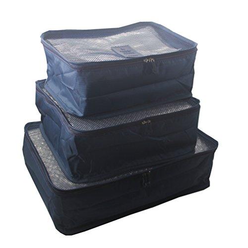 ITraveller 7 Stück Set-3 Verpackungs Würfel+3 Beutel+1shoes bag Kompresse Ihre Kleidung während der Reise (Blue) 6JT-Blue7