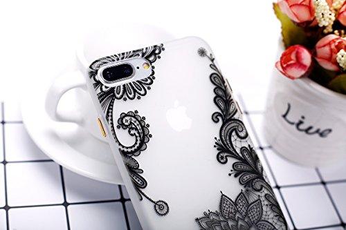 Felfy Coque Pour iPhone 7 Plus,iPhone 7 Plus Silicone Case Cover Ultra Mince Slim Silicone élégant Gel Translucide TPU Souple Motif Design Noctilucent TPU Case Slim Fit Protection Case Coque Bumper Ca Flower Lace Case