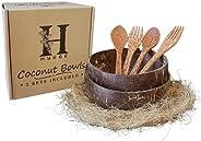 أطباق جوز الهند الخشبية هايج مع ملاعق وشوكات (6 قطع - 2 وعاء ، ملعقتين ، شوكتين) مجموعة أواني طعام مع وعاء سمو