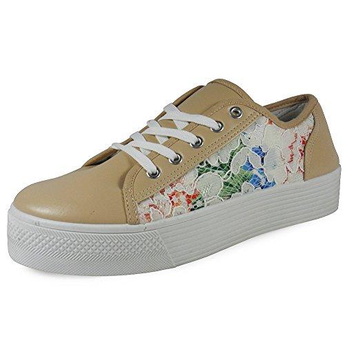 Nouveau Femmes Dames Cheville Lacets Flatforms Flats Chaussures Escarpins Bottes Formateurs Taille 3-8 Beige