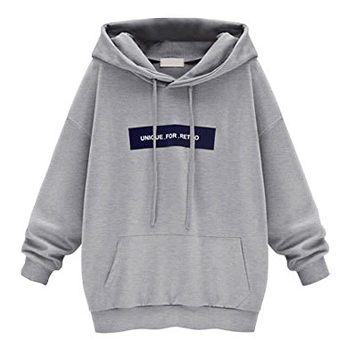 OSYARD Damen Sweatshirt Pullover Hoodie, Mode Frauen Langarm Hooded Oberteile Oversize Jumper Brief Drucken Strickpullover mit Kapuze Tops Bluse Sport Kordelzug Lose Kapuzenpullover mit Tasche - Lee Langarm Kleid Shirt