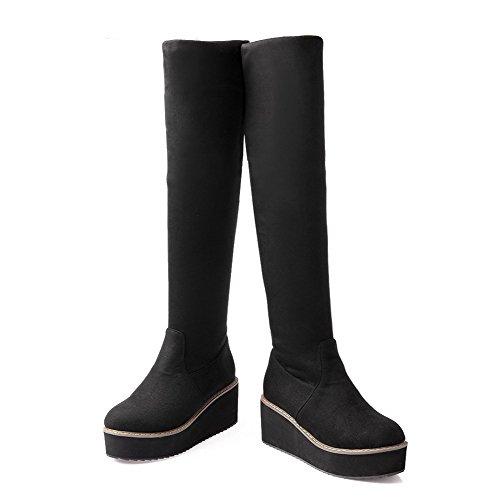 VogueZone009 Damen Hoch-Spitze Ziehen auf Mattglasbirne Mittler Absatz Rund Zehe Stiefel, Schwarz, 37