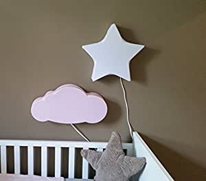 Luminaire enfant/Applique Murale/Applique Enfants Nuage Rose 50 x 25cm