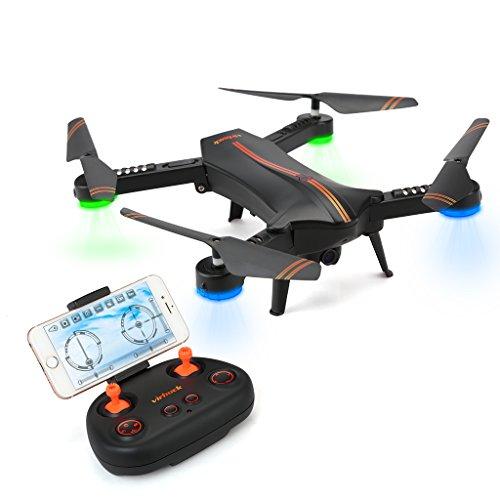 720P RC Quadcopter Drone Plegable, Lente Gran Angular / Velocidad de Nivel 3 / WiFi FPV / Mantenimiento de altitud / Modo sin Cabeza / Una Clave retroceder (Con lente gran angular) (con una batería)