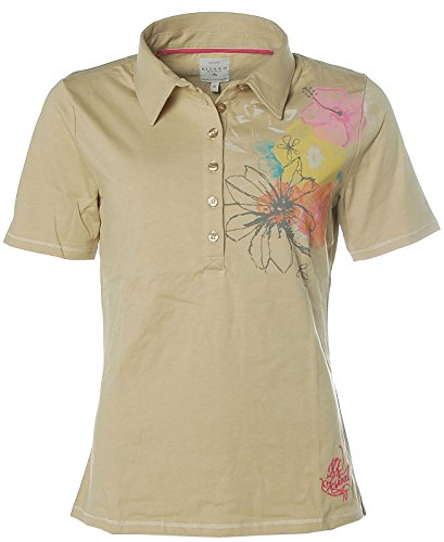 Kitaro Damen Kurzarm Shirt Poloshirt Polokragen Isle Festival Beige