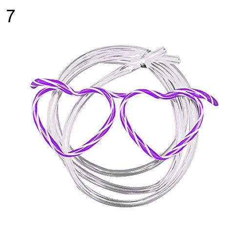 kafiGC8 Kreative Wacky Gläser Trinkhalm DIY Kinder Party Urlaub Trinkgeschirr Gr. Einheitsgröße, Heart Purple*