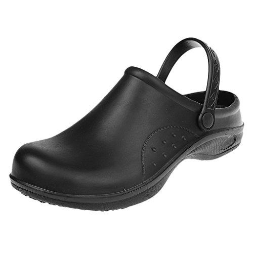 Sharplace donna uomo sandali zoccoli pattini scarpe di sicurezza lavoro antiscivolo per uniforme cuoco chef medico infermiera - nero, 40