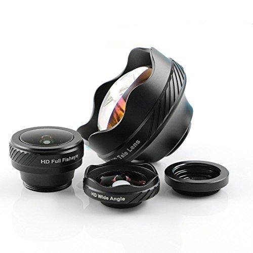 Elecguru Universal HD Kamera Objektiv Kit, 4in 1Wechselrahmen Telefon Linsen-Kit 180° Fisheye Objektiv + 0,65x Weitwinkel + 15x Makro + 3x Teleobjektiv für iPhone 7/6S/6PLUS/5/4, Samsung, HTC LG Sony
