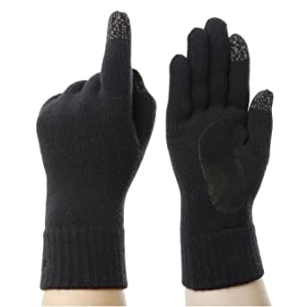 Isotoner Smartouch Knit Black Men's Gloves With Charcoal Cuff