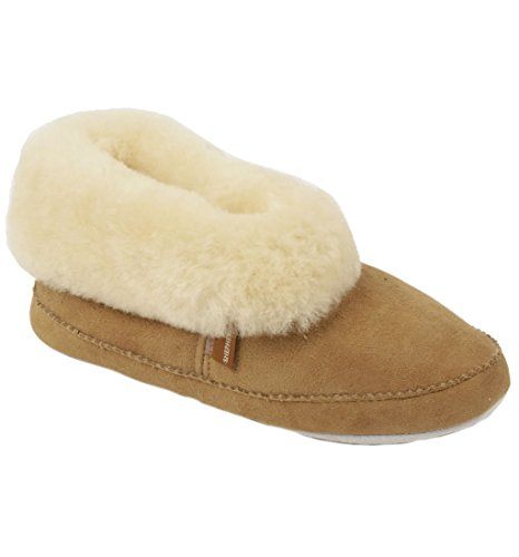 Umgeschlagener Pantoffel mit weicher Sohle aus Schafsleder in ''Bootie''-Stil für die Frau - Größe 40 - Pelz-manschette Bootie