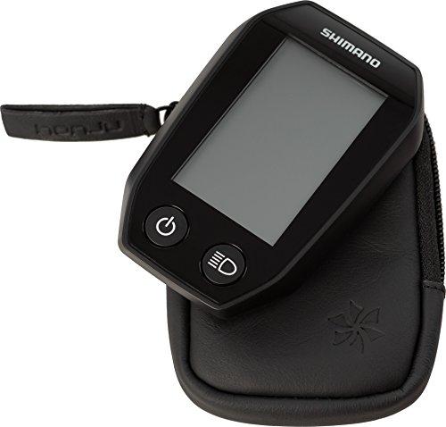 honju Bike Echtledertasche für Shimano Steps SC-E6010 E-Bike/Pedelec Tasche [Displayschutz, Innentasche für Schlüssel, Schutz vor Kratzer & Schmutz] - schwarz