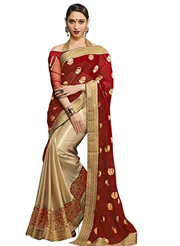 Indian Beauty Women's Brasso Saree (Indra-Anni-9586 _Red)