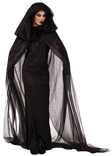 Vosujotis Frauen Ostern Kostüm Anzug Hexe Reaper Geist Cosplay Kapuzen - Gewand schwarz One Size