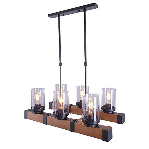 Lingkai Lámpara colgante de madera colgante de iluminación Retro araña rústica Edison Vintage decorativos accesorios de iluminación de techo Edison E27 lámpara colgante de madera Base