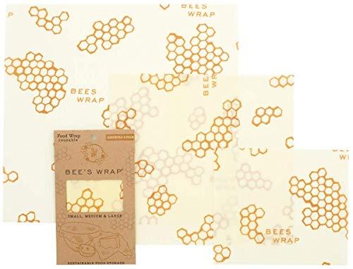 Confezione alimentare Beeswax Food Wrap Confezione da 3 pezzi ecologico riutilizzabile cera dapi per alimenti sostenibile senza rifiuti Waben Print