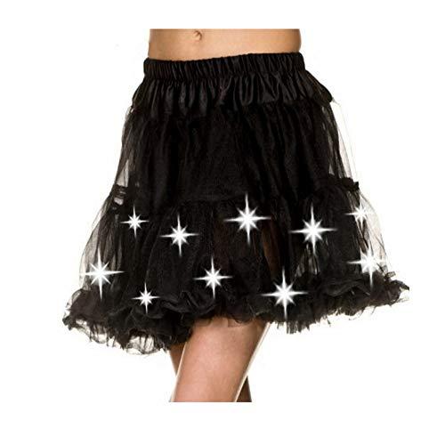 Sexy Schwarz oder weiß, teilweise mit LED-Licht Layered Petticoat / Ballettröckchen-Rock für Korsett / Halloween-Kostüm, Größe 36-44, Schwarz, 36-44 (Korsett-outfits Für Halloween)