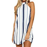 AmazingDays Damen Kleider Neckholder Kleid A Linie Sommerkleid Gestreift Minikleid  Kurz Strandkleider Freizeitkleid Locker b9b0d80fc6