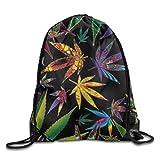 LoveBiuBiu Drawstring Backpack Kids Adults Waterproof Bag for Gym Traveling Novel Trippy Weed Leaves Prints