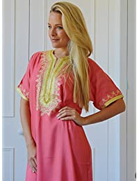 6f66859581 New Handmade Ladies Kaftan Resort Wear Cover-up Fashion Pink Fez Cotton  Caftan