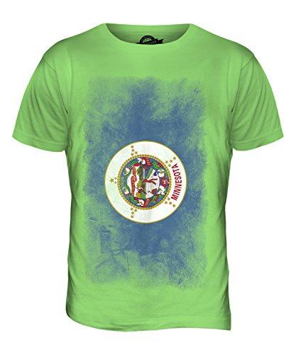 CandyMix Bundesstaat Minnesota Verblichen Flagge Herren T Shirt Limettengrün