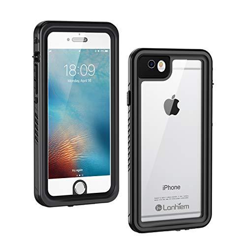 Lanhiem für iPhone 6S Hülle, iPhone 6 Hülle, [IP68 Zertifiziert] Wasserdicht Handy Hülle mit Eingebautem Displayschutz, Stoßfest Staubdicht und Unterwasser Outdoor Schutzhülle, Schwarz - 6 Handy Wasserdichte Cover Iphone