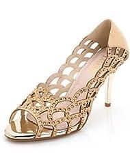 CBIN&HUA Zapatos de mujer-Tacón Stiletto-Tacones / Punta Abierta-Sandalias-Vestido / Casual / Fiesta y Noche-Tejido-Negro / Blanco / Oro , golden , us9 / eu40 / uk7 / cn41