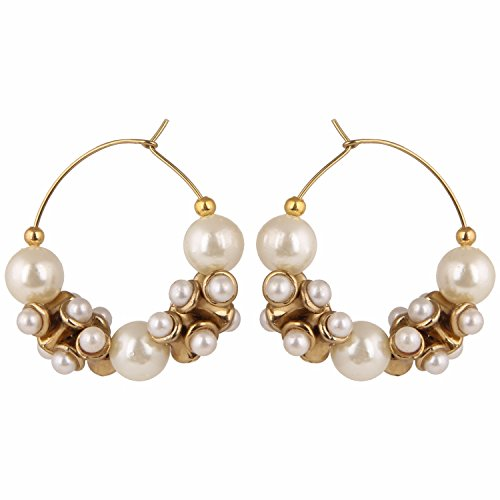 Archi Collection Traditional Stylish Pearl Hoop Earrings for Girls and Women