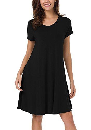 Baumwoll-basics Kleid (Damen kurze Ärmel Stretch Basic Kleider Shirtkleid (M, Schwarz))