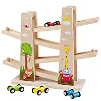 Baobë Click Clark Race Car, Wooden Zig Zag Car Set with Parking Lot, Wooden Jungle Race Car , Click Clack Racing Track with 4 Cars, Educational Toy Gift for Toddlers (woods)