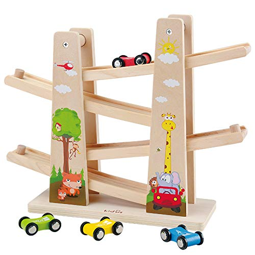 Baobë Kinder Kugelbahn Holzspielzeug, Auto Rennbahn Holz Spielzeugmit 4 Fahrzeuge,Auto Rennbahn Kinderspielzeug Geburtstaggeschenke ab 1 Jahr Jungen und Mädchen