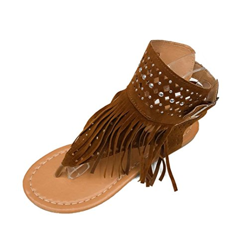 OverDose Damen Sommer Sandalen Mode Mädchen Sommer Blumen Mädchen Flip Flops Strand Sandalen Böhmen flache Sandalen Ferse Schuhe Flach Schuhe Braun