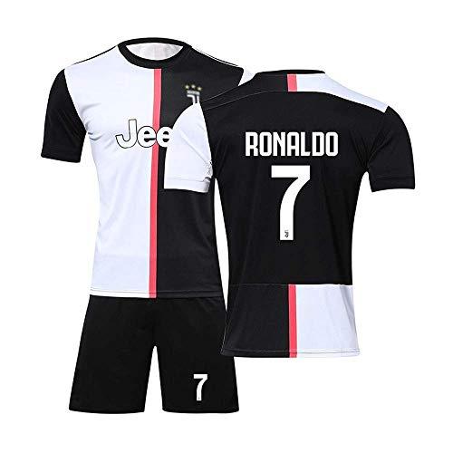 qwe Jersey Fußball Jersey Juventus No. 7 Trikot Erwachsene Kinder Anzug Kurzarm + Shorts Fußball Uniform,Black,Adulto~(L) -