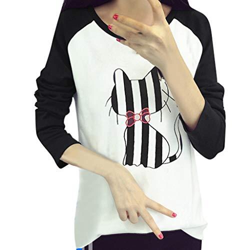 LILIGOD Frauen Langarm Rundhals Katze Farbe Top Damen Freizeit Regular T-Shirt Mode Wild Blouse Einfach Tägliche Kleidung Frühling und Sommer Langärmliges Hemd