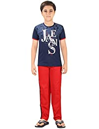 Boy's Sporty Night Wear T-Shirt And Track Pant Set By Just4You