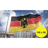 Deutschlandfahne Fanartikel Deutschlandflagg 90x150 cm mit Adler Fahne Deutschland schwarz rot gold mit Metallösen Ösen zum Aufhängen für WM 2018, Fußball Weltmeisterschaft und 1x WM Planer Din A3 mit Spielplan (90x150 cm Flagge mit Adler)
