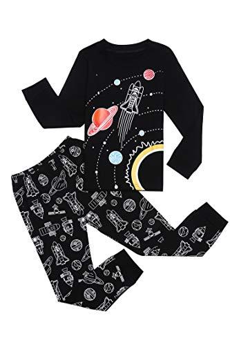 Bricnat Schlafanzug Jungen Langarm Baumwolle Pyjama Kinder Zweiteiliger Nachtwäsche Set Dinosaurier,Hai, Sternenhimmel, Feuerwehrauto,Bulldozer 3-11 Jahre
