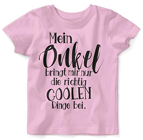 Kostüm Und Papa Mir - Mikalino Baby/Kinder T-Shirt mit Spruch für Jungen Mädchen Unisex Kurzarm Mein Onkel bringt Mir nur die coolen Dinge bei | handbedruckt in Deutschland, Farbe:rosa, Grösse:56/62