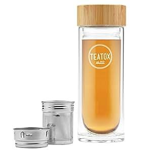 TEATOX© Thermo-Go Bottle 330ml, Trinkflasche aus Glas für Tea to Go, Teeflasche mit Sieb, Water Bottle mit Fruchteinsatz