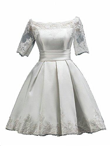 JAEDEN Damen Kurzarm Ballkleider Kurz Satin Festkleid Abendkleider Partykleid Brautkleid Weiß